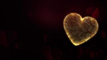 Coeur 3d de treillis métallique de paillettes dorées sur fond de flux de coeur rouge video