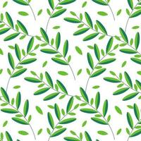 Branches with green leaves seamless pattern. vector