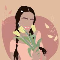 Beautiful smiling girl with yellow tulips in her hand. vector