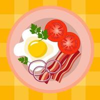 Scrambled eggs with bacon, tomatoes, parsley and onion. vector