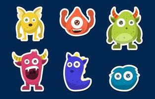 Colorful Halloween Monster Sticker Collection vector