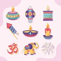 Diwali Icon Collection in Flat Color Style vector