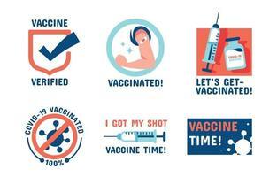 covid-19 después de la colección de pegatinas de la insignia de la vacuna vector