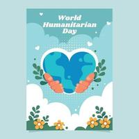 Humanitarian Day Poster with Hand Holding Earth vector