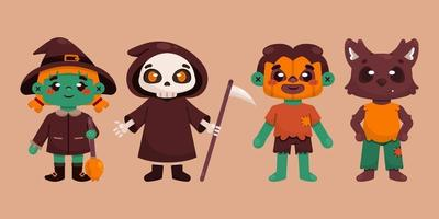 colección de personajes de halloween vector