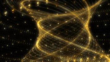 Looped yellow glow  particles tunnel structures sci-fi background video