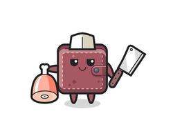Illustration of leather wallet character as a butcher vector