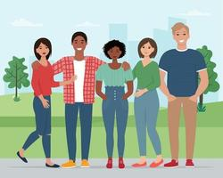 Happy people, friends together. Young boys and girls in the park vector