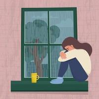 Depressed woman sitting by the window. Seasonal depression. Vector