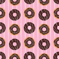 Donut seamless pattern. Chocolate donuts on a pink background vector