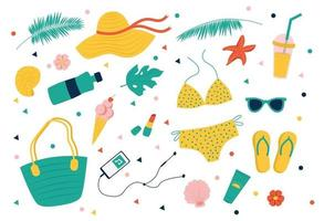 Summer set swimsuit, flip flops, bag, water bottle, sunglasses vector