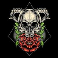 The Skull Head And Flower vector