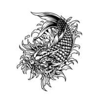 Dragon Koi Fish Japan Silhouette vector