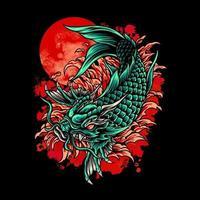 Dragon Koi Fish Japan vector