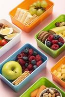 Food lunch boxes arrangement high angle photo