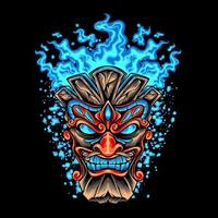 Tiki Head With Blue Fire vector
