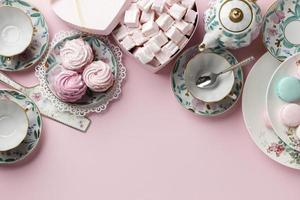 Tea party composition with copy space photo