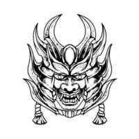 Devil Mask Samurai Silhouette vector