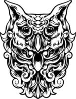 Owl Bird With Full Ornament Silhouette vector