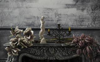 Old porcelain on the table. Tea-set. Handmade crockery. photo