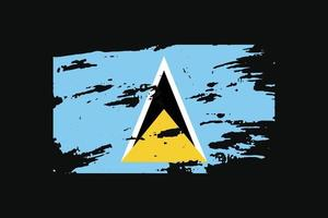 Grunge Style Flag of the Saint Lucia. Vector illustration.