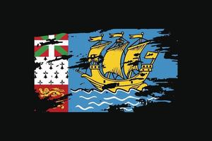 Grunge Style Flag of the Saint Pierre and Miquelon. vector