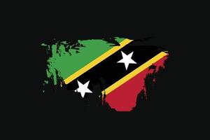 Grunge Style Flag of the Saint Kitts and Nevis. Vector illustration.