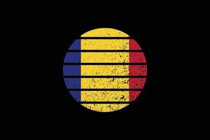 Grunge Style Flag of the Romania. Vector illustration.