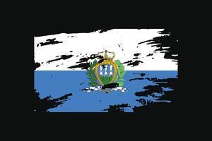 Grunge Style Flag of the San Marino. Vector illustration.