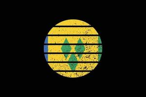 Grunge Style Flag of the Saint Vincent and the Grenadines. vector