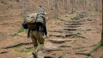 jeune randonneur voyage seul dans les montagnes avec sac à dos video