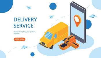 Delivery Service Isometric Banner vector