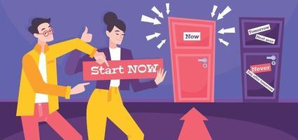 Start Now Flat Poster vector