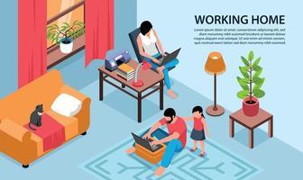 fondo de hogar de trabajo familiar vector