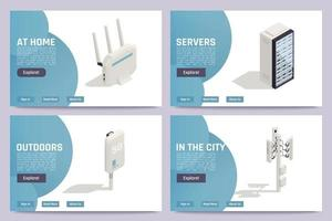 Internet Technology Isometric Banners vector