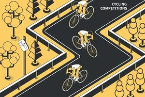 Cycling Race Isometric Composition vector