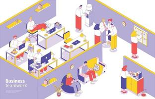 Business Teamwork Isometric Composition vector