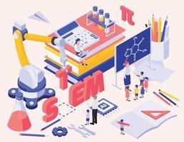 STEM Education Isometric Background vector