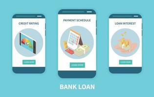 Bank Loan Isometric Set vector