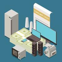Credit Loan Isometric Composition vector