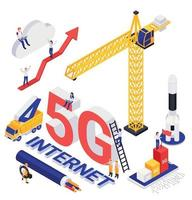 Internet 5G Technology Isometric Composition vector