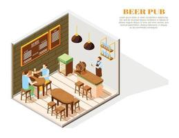 Beer Pub Isometric Composition vector