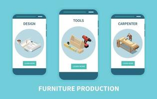 Carpenter Furniture Isometric Set vector