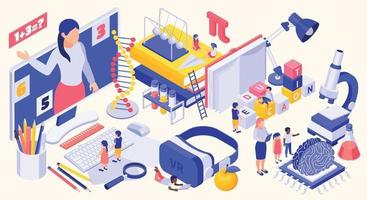 STEM Education Isometric Concept vector