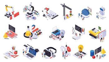 STEM Education Isometric Icons Set vector