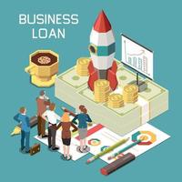 Business Loan Isometric Composition vector