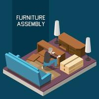 Carpentry Isometric Composition vector