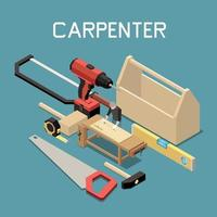 Carpentry Tools Isometric Composition vector