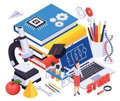 STEM Education Isometric Illustration vector
