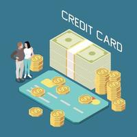 Credit Card Loan Isometric Composition vector